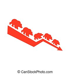 Red Bear Down Arrow. Exchange Trader illustration. Business...
