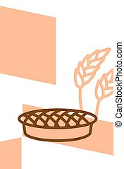 Bakery template design blank, poster. Pie and wheat ears