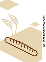 Bakery template design blank, poster. Baguette and wheat...