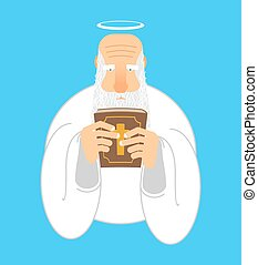 God and Bible. Gray-haired old man with halo. Holy book