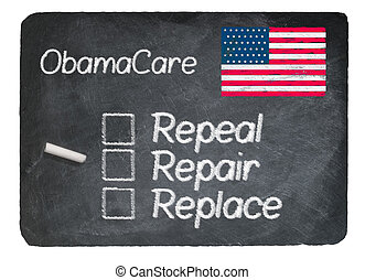 Obamacare concept using chalk on slate blackboard -...