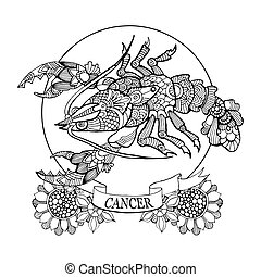 Cancer zodiac sign coloring book for adults vector...