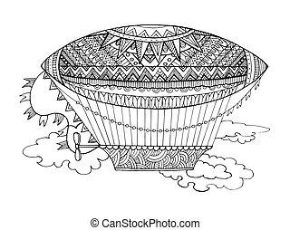 Dirigible airship coloring book vector - Dirigible airship...