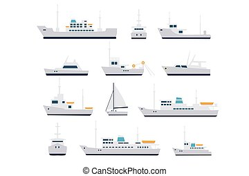 239back - Set of fishing vessels and cruise