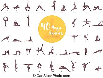 40 Yoga Asanas with names - Vector illustration of 40 Yoga...