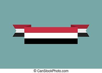 Yemen flag ribbon isolated. Yemeni tape banner. National symbol of ountrys public
