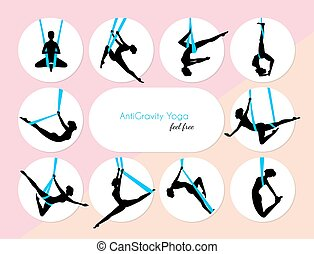 10 Anti-Gravity yoga - Vector illustration of 10...