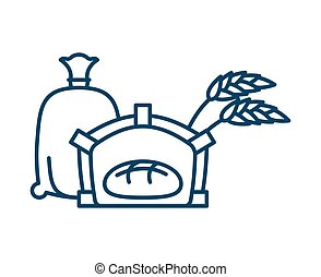 Bread in oven line icon. Sign for production of bread and bakery