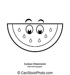 Cartoon Watermelon coloring pages vector - image of food...