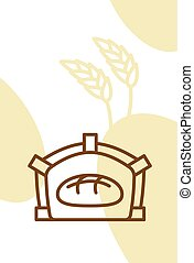 Bakery template design blank, poster. Bread in oven and wheat ears