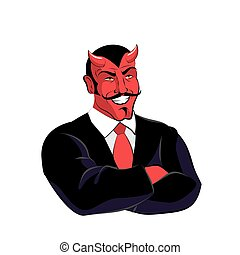 Satan boss. Devil businessman in black suit. Red demon with...