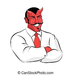 Satan boss. Devil businessman in white suit. Red demon with...