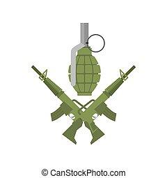 Military emblem. Army logo. Crossed rifles and grenade. Gun...