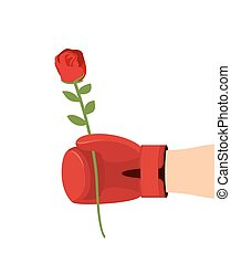 Boxer glove and rose. Give flower on 8t of March. Gift woman
