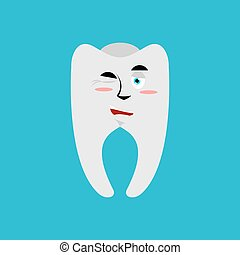 Tooth winks Emoji. Teeth emotion cheerful isolated