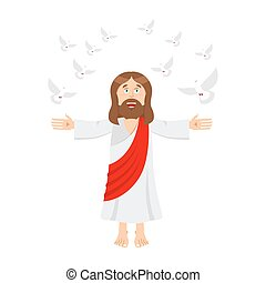 Jesus Christ and dove. holy man and pigeon. son of God. bible bird
