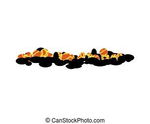 Burning charcoal isolated. hot Coal on white background