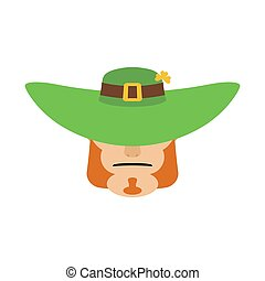 Leprechaun in green hat face. Head with Red beard. Portrait for St. Patricks Day celebration in Ireland