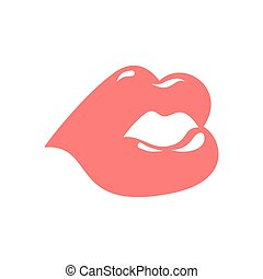 Lips isolated. Pink Kiss on white background