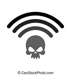Wi-fi death. WiFi mortal. Wireless connection skull. Passing...