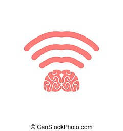 Wi-fi brain. WiFi mind. Wireless connection wiseacre....