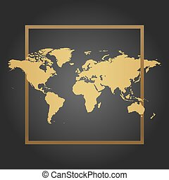 Golden Political World Map in black background with frame. Space for text and quotes. Vector Illustration