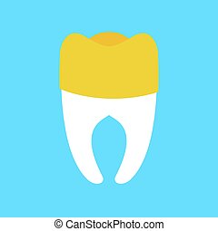 tooth with gold Dental crown isolated. Dentist illustration