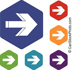Arrow icons set rhombus in different colors isolated on...