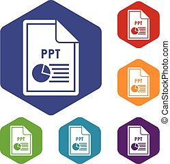 File PPT icons set rhombus in different colors isolated on...