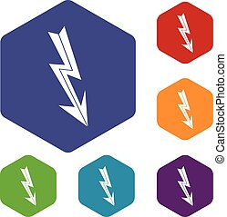 Arrow lightning icons set rhombus in different colors...