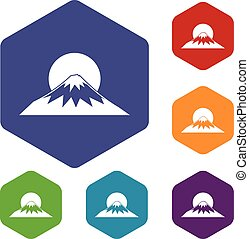 Sun and mountain icons set