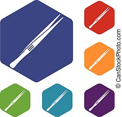Tweezers icons set rhombus in different colors isolated on...