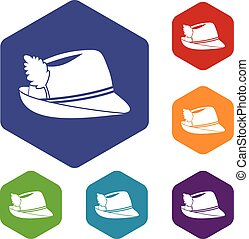 Irish hat icons set rhombus in different colors isolated on...