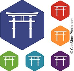 Japanese torii icons set rhombus in different colors...