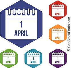 Calendar April 1 icons set