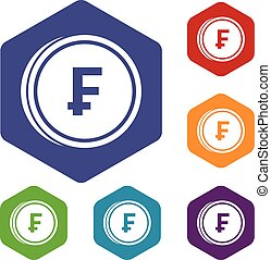 Franc coins icons set rhombus in different colors isolated...