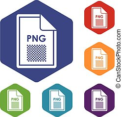 File PNG icons set rhombus in different colors isolated on...