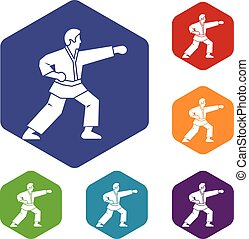 Aikido fighter icons set rhombus in different colors...