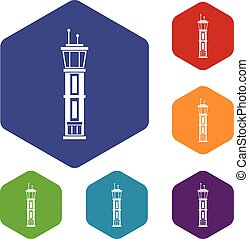 Airport control tower icons set