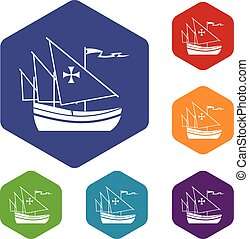 Ship of Columbus icons set