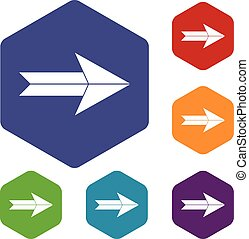 Big arrow icons set rhombus in different colors isolated on...
