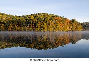 Fall reflections at Monksville Reservoir, Hewitt, New...