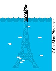 Eiffel Tower Flood. deluge in Paris. Plenty of water and...