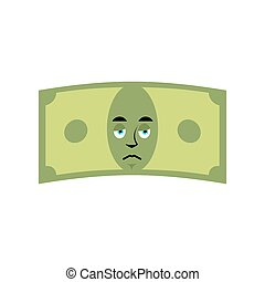 Money sad emotion. Cash Emoji sorry. Dollar isolated