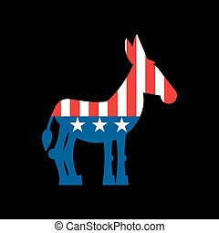 Democrat Donkey and US flag. Political Party America