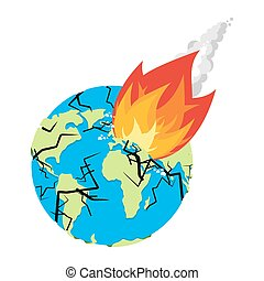 Meteorite crashing Earth. Planet is in danger. armageddon and Disaster. Catastrophe. Big fire asteroid Destruction of globe