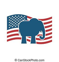 Republican elephant and US flag. Political Party America -...