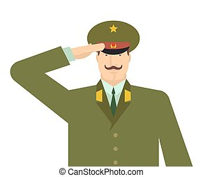 Russian military officer salute. Russia soldiers isolated. February 23 illustration. Military holiday. Defenders of Fatherland Day