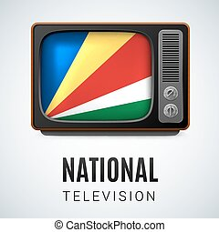 Round glossy icon of Seychelles - Vintage TV and Flag of...