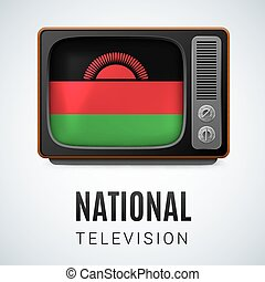 Round glossy icon of Malawi - Vintage TV and Flag of Malawi...